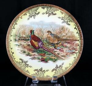STW-BAVARIA-PHEASANTS-VINTAGE-GILT-RIMMED-DECORATIVE-11-1-2-034-CHARGER-1930-039-s