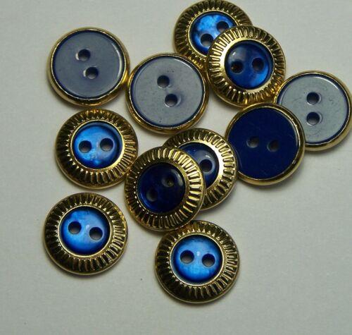 10pc 14mm Gold and Royal Blue Dress Suit Cardigan Trouser Children Button 0128