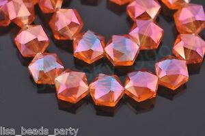 10pcs-12mm-Hexagon-Faceted-Crystal-Glass-Findings-Loose-Spacer-Beads-Wine-Red