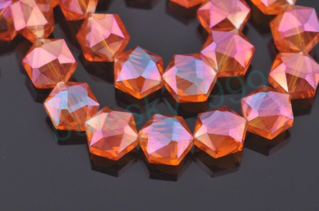 10pcs 12mm Hexagon Faceted Crystal Glass Findings Loose Spacer Beads Wine Red