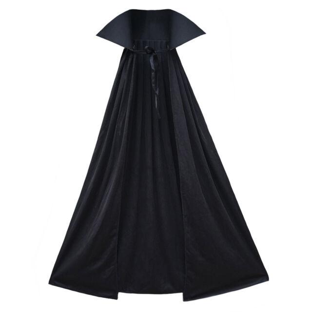 "40"" Black Cape with Stand-Up Collar ~ ADULT/CHILD VAMPIRE SUPERHERO COSTUME CAPE"