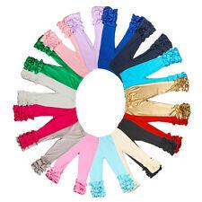 Baby Infant Girls Pants Toddler Kids Icing Ruffle Cotton Leggings Multi Colors