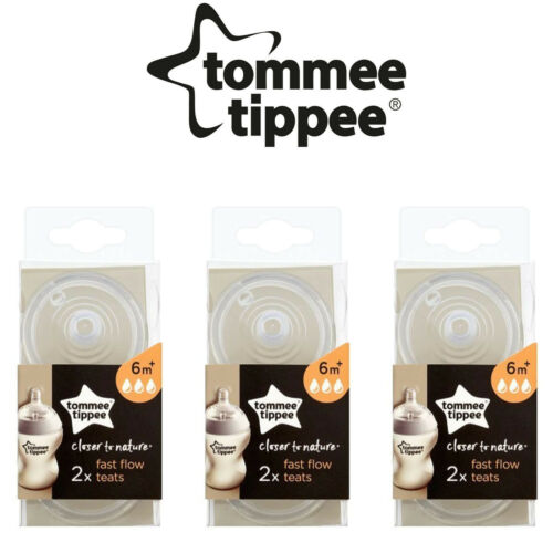 3 x Tommee Tippee Closer To Nature Fast Flow Teats x 2 Pack of 3