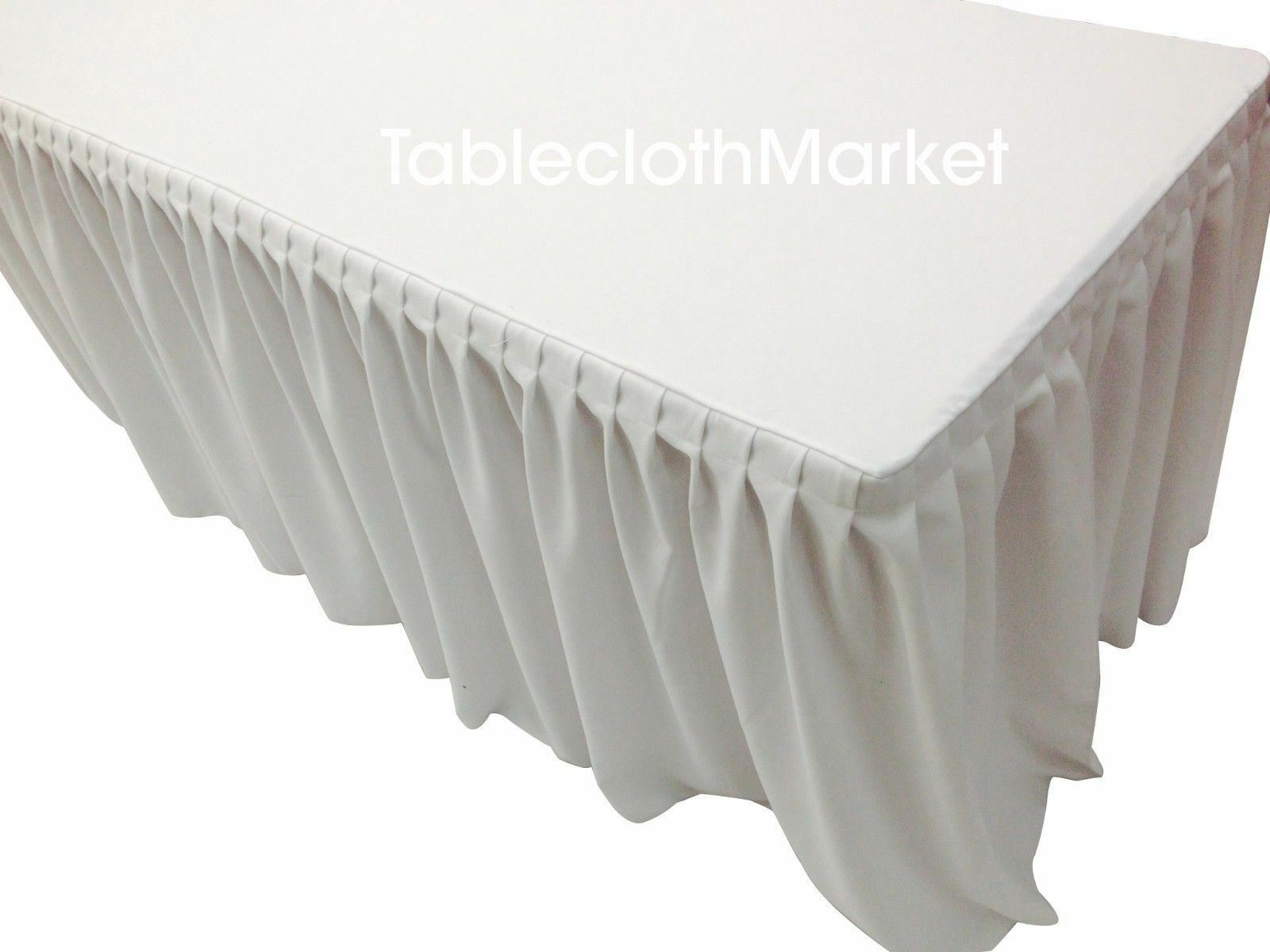 8' Fitted Table Skirt Cover Cover Cover w  Top Topper Single Pleated Trade show Events Weiß d69c8b