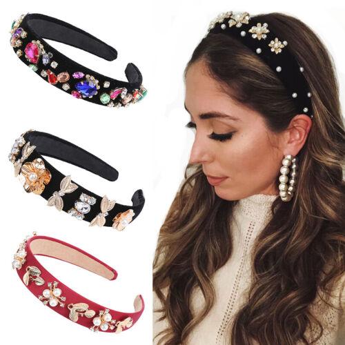Luxury Ladies Baroque Crystal Flower Headband Wide Hairband Hair Accessories Hot