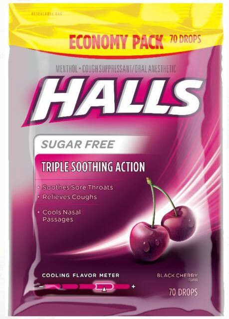 HALLS TRIPLE SOOTHING ACTION BLACK CHERRY FLAVOR 70CT 312546001572YN
