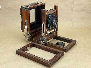 Gundlach-Korona-4x5-wooden-view-Camera-w-Tessar-7-1-2-Inch-f-4-5-Needs-Bellow