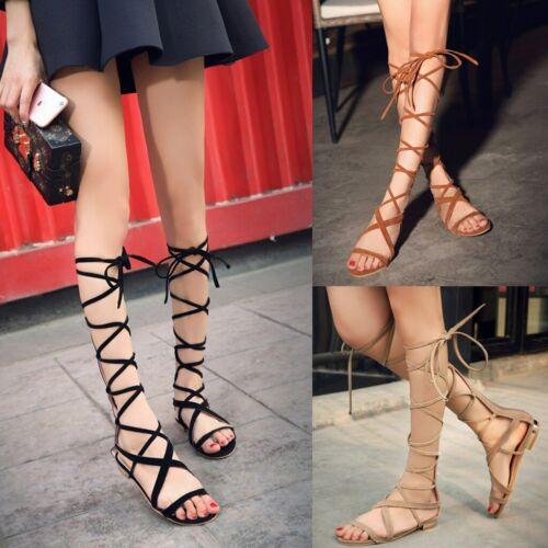 Damen Gladiator Sandalen Romer Sandaletten Riemchen Flach Sommerschuhe Schuhe DE