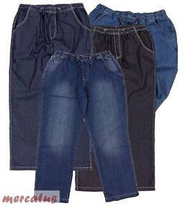 Das Bild wird geladen Ubergroessen-schicke-Jogging-Jeans-Schlupf-Jeans- Gummibund-bequem- 2626698fb3