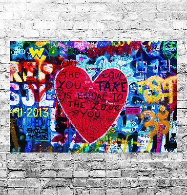 STUNNING ABSTRACT GRAFFITI POP ART #25 QUALITY FRAMED CANVAS PICTURE WALL ART