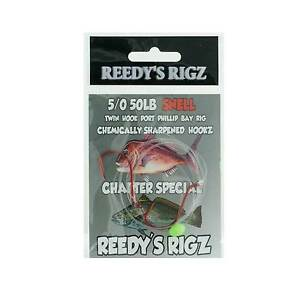 5x-Running-Rigs-Tied-On-50lb-Leader-PPB-Twin-Suicide-Hook-5-0-6-0-4-0-Bait