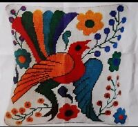 Exotic Bird Colorful Floral Op Art Bright Pillow Rare Vintage Needlepoint Kit