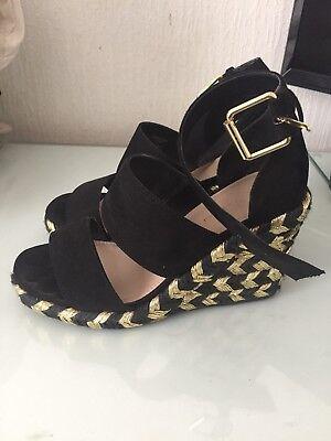 Asos Black And Gold Wedges Size 3   eBay