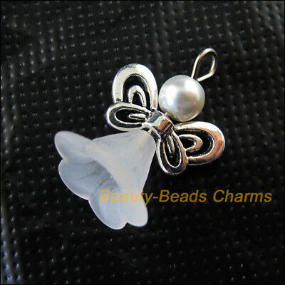 8 New Charms Dancing White Angel Pendants Gold Plated Wings 17.5x24mm