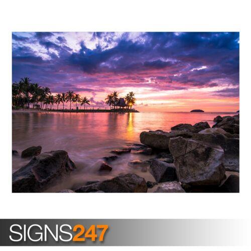 3820 photo poster print art A0 A1 A2 A3 A4 Beach resort sunset
