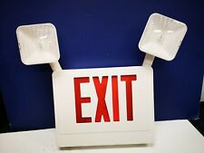 White Double Face Red Letters Battery Backup Emergency Exit Sign Light Ccruw New