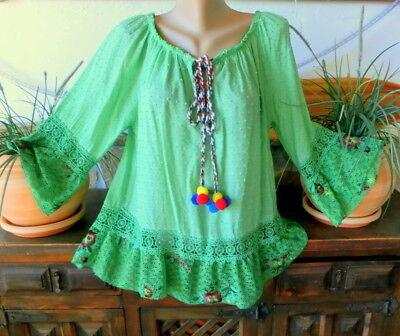 Italy Lagenlook Tunika Kleid Vintage Ibiza Baumwolle Volants Iceblue 42-44-46