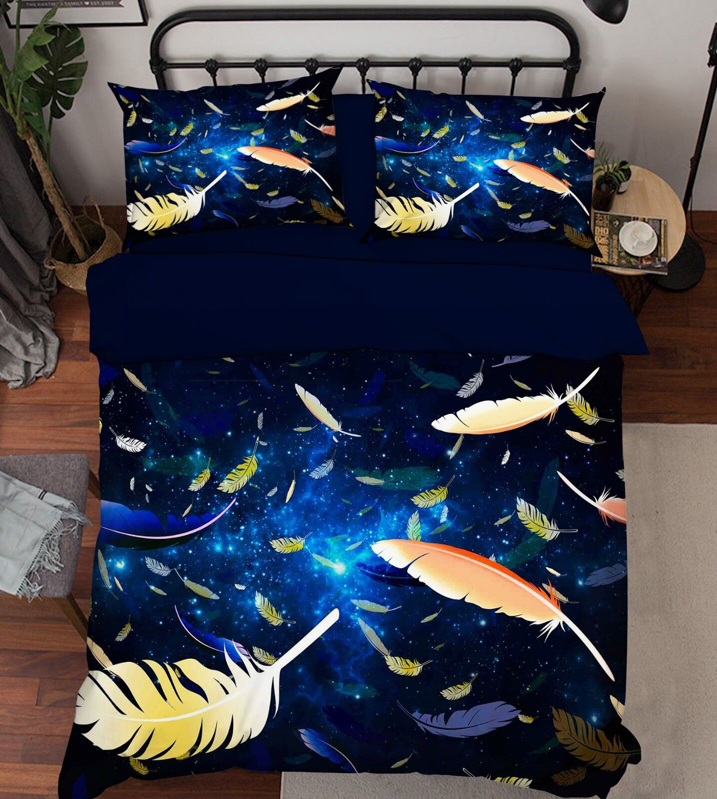 3D Star Feathers 586 Bed Pillowcases Quilt Duvet Cover Set Single King UK Summer