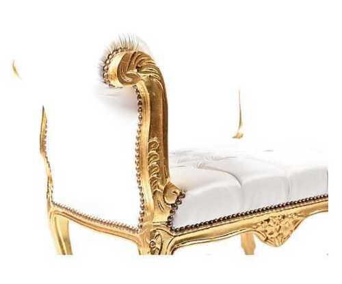 Panca Panchetta In Legno Foglia oro Stile Luigi Xv Eco-Pelle Bianca