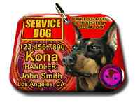 Service Dog Pet Photo Id Tag Custom Badge-tag Red Ada Personalized Ada Tag