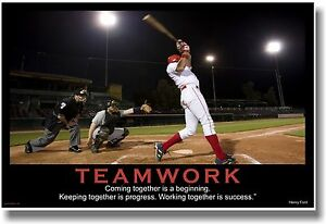 Details about NEW Motivational TEAMWORK POSTER - Henry Ford Quote - Sports  Baseball