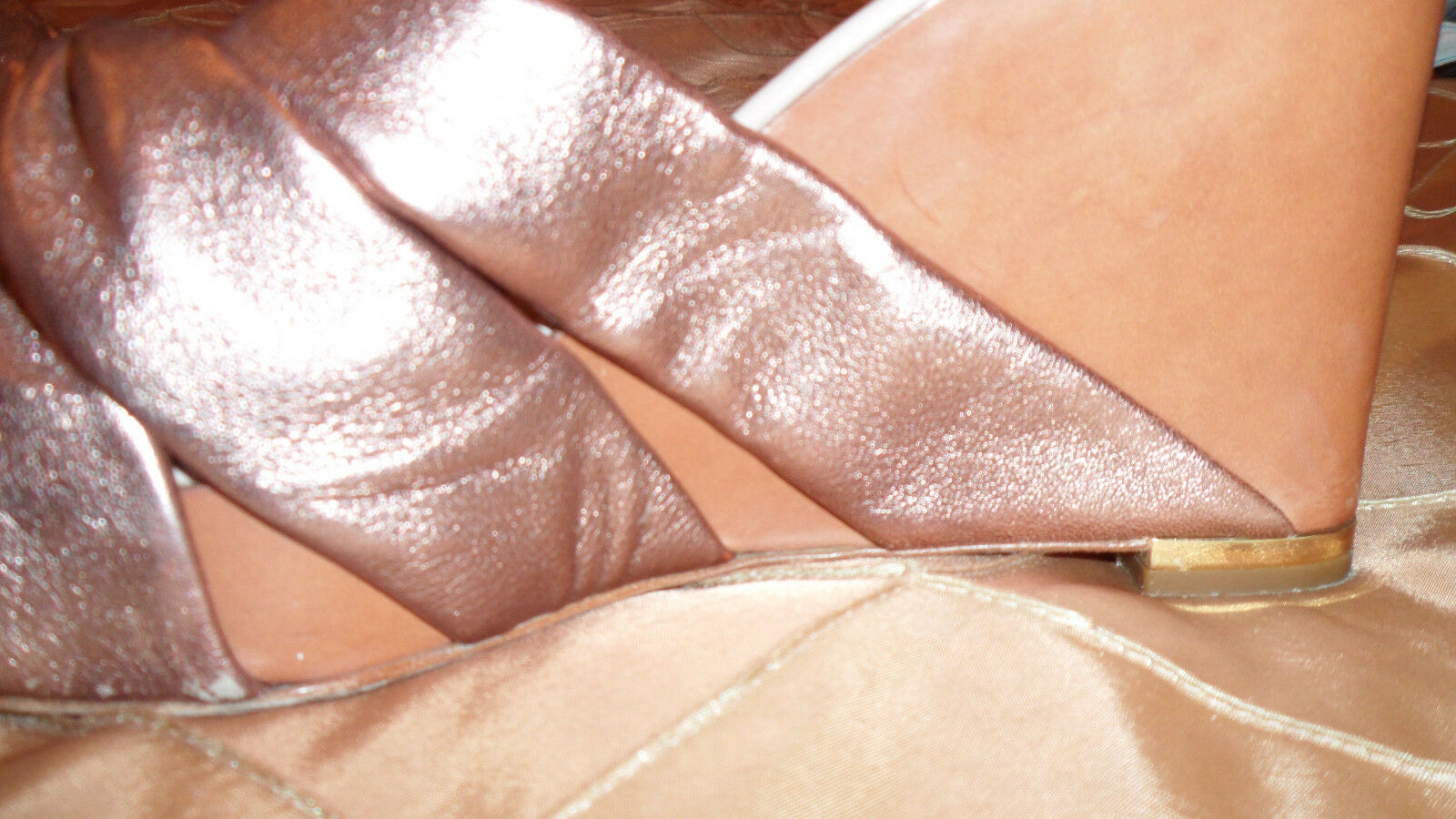 SERGIO ROSSI FAB SLIP UN PLATFORM Schuhe COMBINATION OF GOLDEN GOLDEN OF AND BROWN LEATHER 839bc0