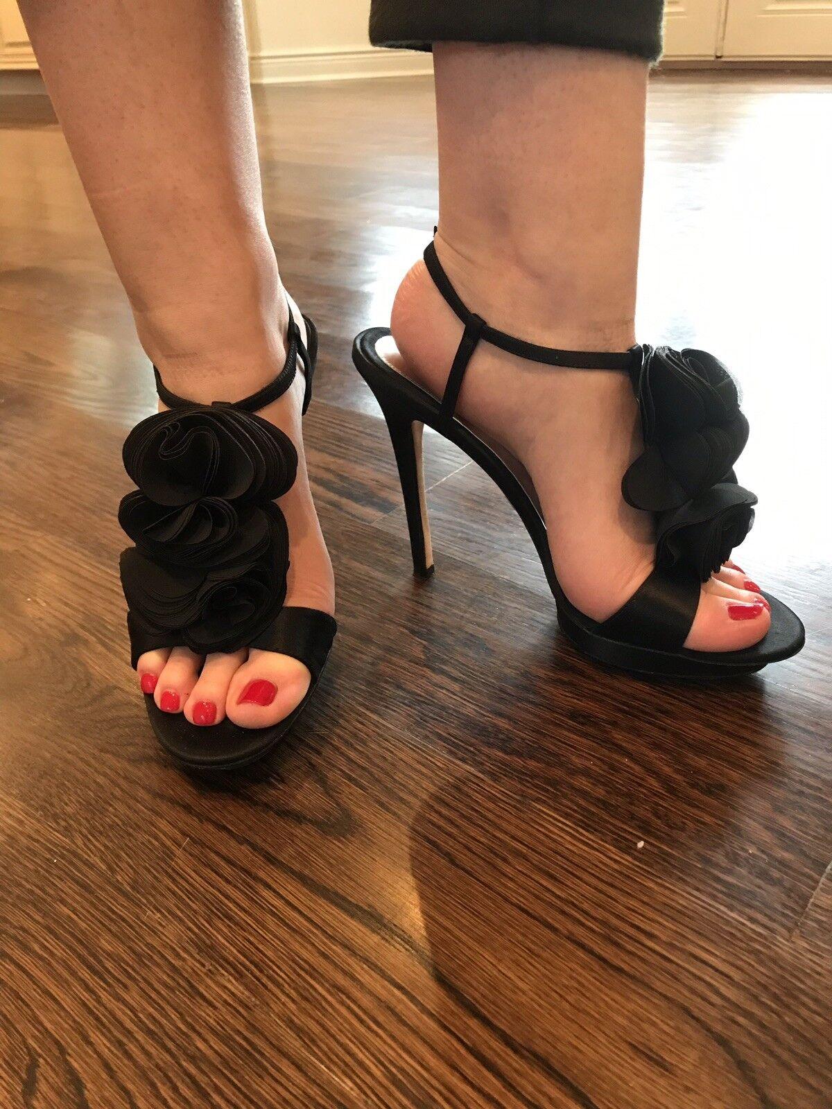 Badgley Mischka Mischka Mischka Black Satin T Strap Platform Heels Sandles Size 10 ed4a8b
