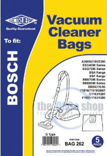 BBS6319 BBS6317 BBS6310 BBS6318 5 x BOSCH Vacuum Cleaner Cloth Bags G Type