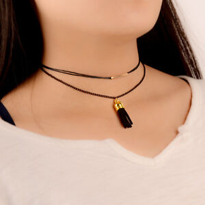 Fashion-Gothic-Black-Double-Layer-Tassel-Pendent-Korean-Choker-Necklace
