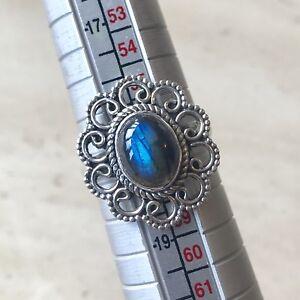 Impresionante-fuego-azul-Labradorita-amp-Plata-Esterlina-925-Anillo-tamano-de-Reino-Unido-Q