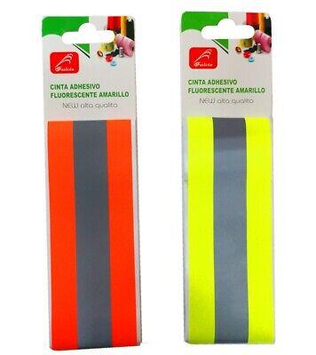 2x Cinta Reflectante Tira Adhesiva Fluorescente 5x100 Alta Visibilidad Seguridad