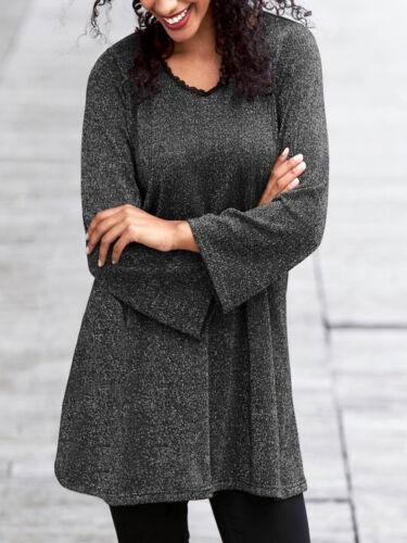 Pull Femmes Gris Argenté Paillettes Pull Long Plus Mince Pull Mini-robe NEUF