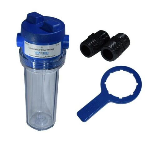 Water Filter Housing 10in With Valve in Head Clear Bowl with Spanner 3//4in BSP
