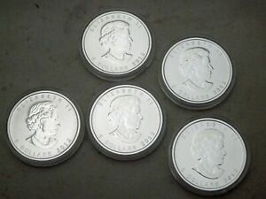 Royal-Canadian-Mint-RCM-set-lot-of-5-2012-Maple-Leaf-coins-9999-Silver