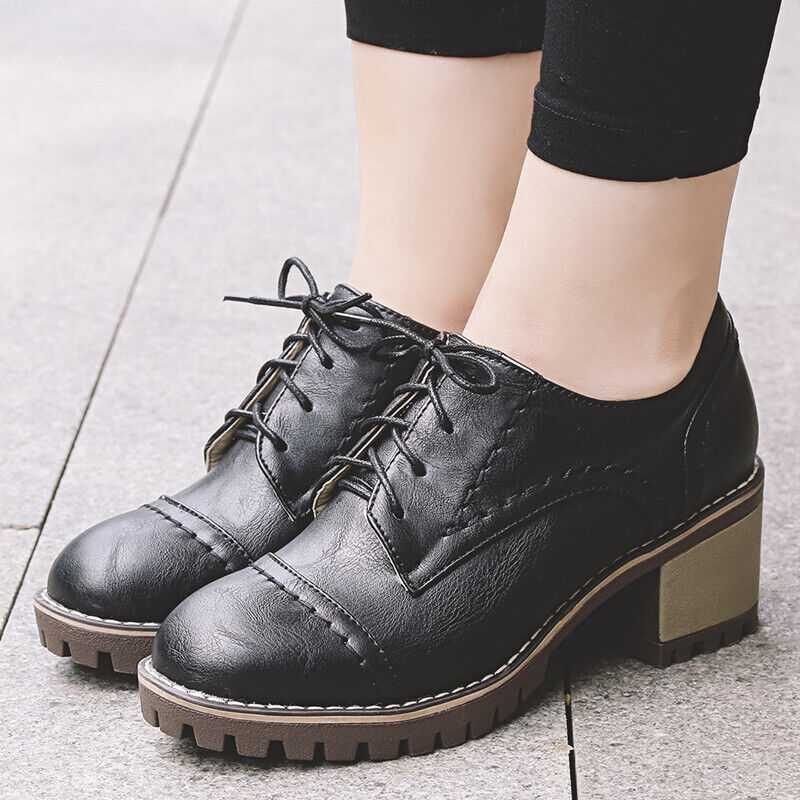 Women Girls Flat Oxford Brogue College Block Heel Round Toe Lace Up Pumps shoes