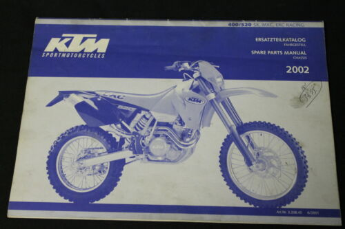 KTM OEM SPARE PARTS MANUAL CHASSIS 2002 400 520 SX MXC EXC RACING