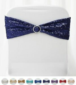 Spandex Sequined Chair Sashes For Wedding Party Decorations Wholesale Supplies Ebay
