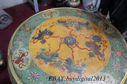 "30"" China Cloisonne Pure Bronze Nine Dragon Bottle Vase Chair desk 4 Stools Set"