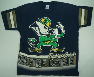 Rare-Vintage-SALEM-Notre-Dame-Fightin-Irish-Single-Stitch-Jersey-T-Shirt-90s-L
