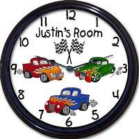 Hot Rod Truck Wall Clock Custom Personalized Child Transportation Bedroom 10