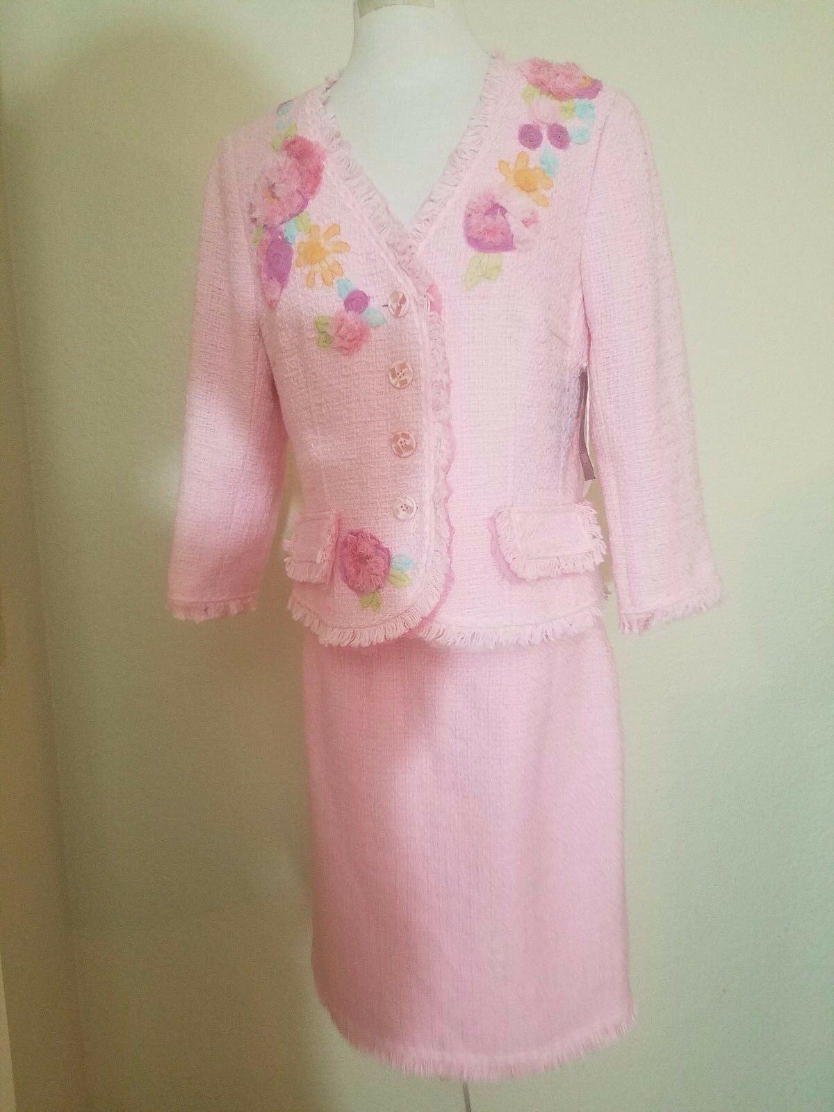 JONAdorable Designer Sweet PINK Skirt Suit Set With Embroidered FlowersS-12