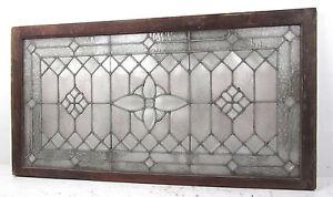 Large Vintage Leaded Etched Glass Window (2762)NJ