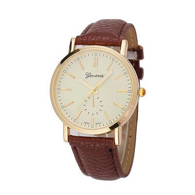 Geneva Unisex Watches Charm Leather Band Watch Analog Quartz Vogue Wrist Watch