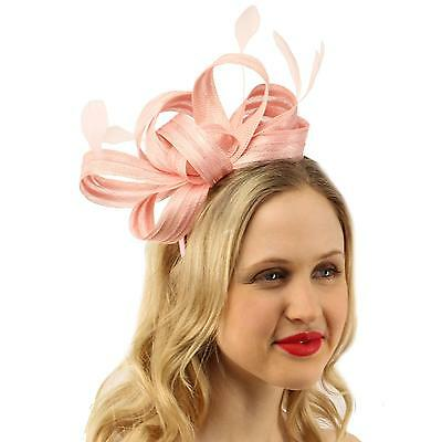 bdf03561 Details about Sinamay Ribbon Feathers Fascinators Headband Millinery  Cocktail Derby Hat