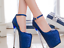 Womens-Platform-Super-High-Heels-Round-Toe-Pumps-Ankle-Buckle-Belt-Bling-Shoes thumbnail 3