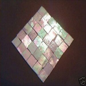 100 white iridescent mosaic tile stained glass tile craft for Mosaic tiles for craft