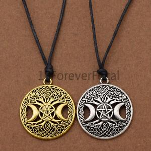 Tree-Of-Life-Necklace-Vintage-Goddess-Pendant-Triple-Moon-Pentagram-Jewellery