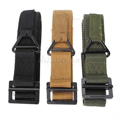 Outdoor Tactical Mens Waist Belt breathable Canvas Strap Waistband /&Buckle