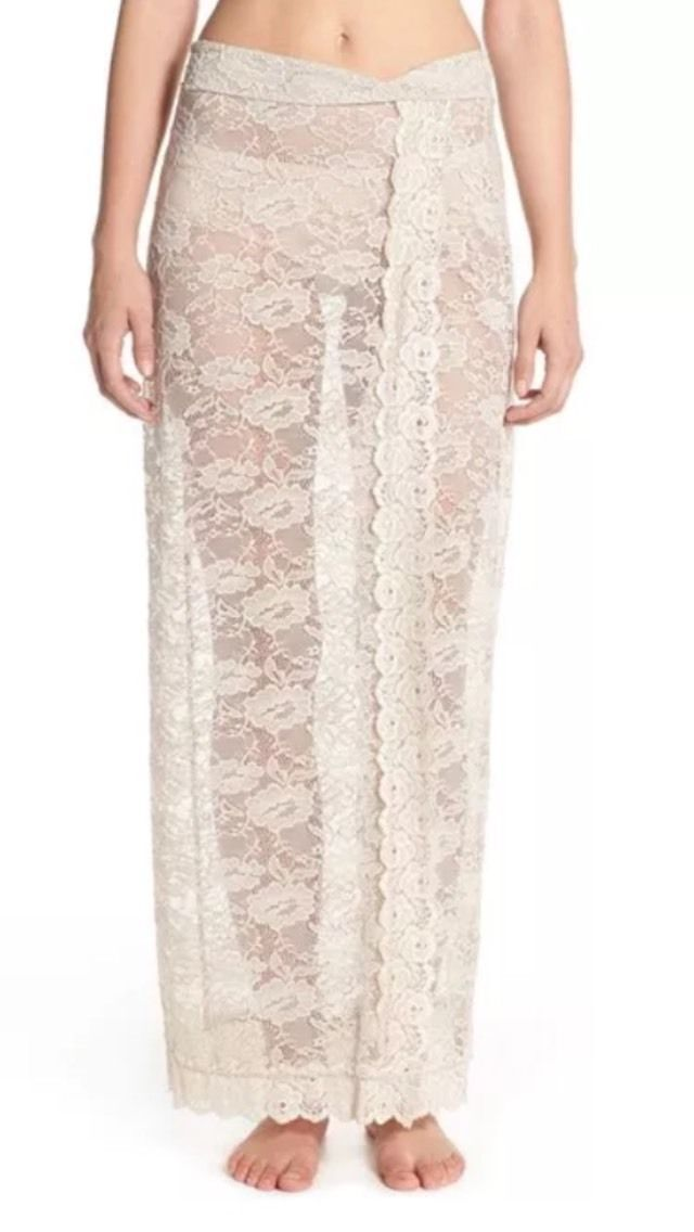 New Free People Intimately Lace Maxi Skirt Nylon Taupe Size XS