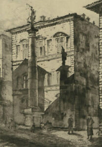 J-A-Neamr-Early-20th-Century-Etching-Florence-Street-Scene